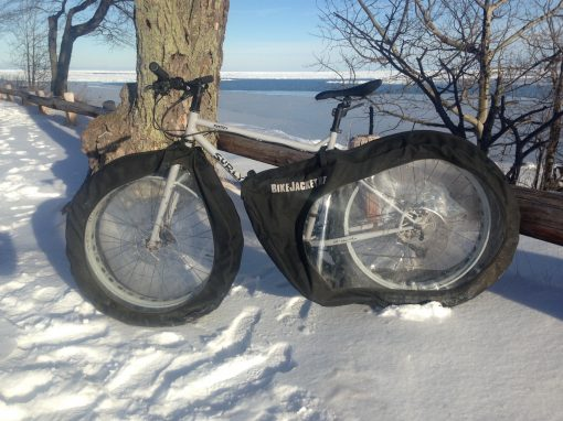 The black Bike Jacket in sunny Marquette Michigan